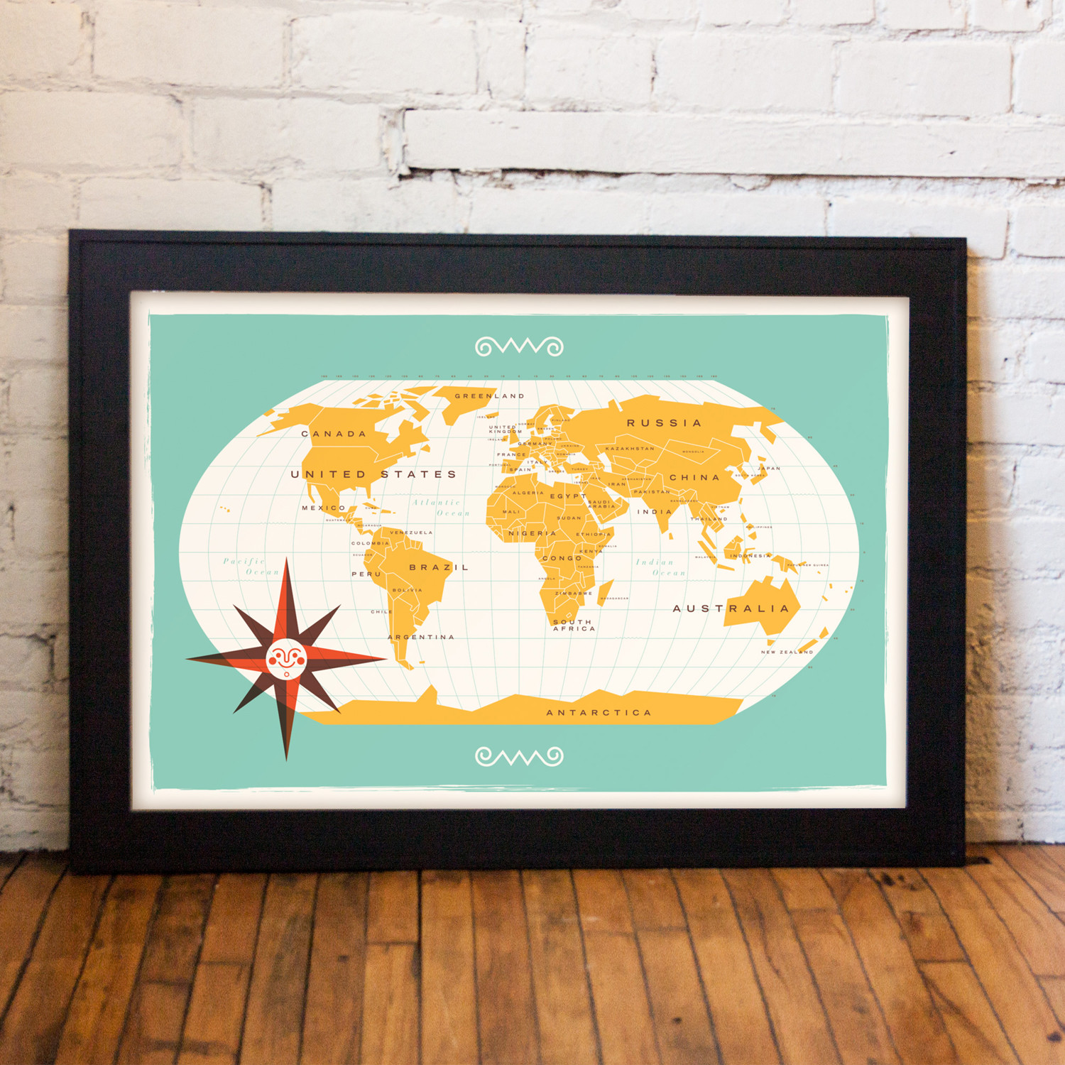 Modern World Map Aqua These Are Things Touch of Modern