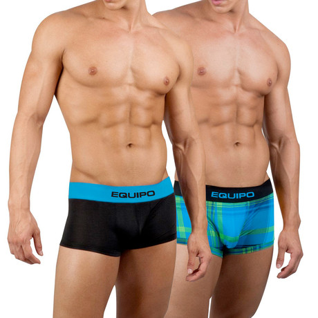 Solid + Plaid Trunks // 2 Pack // Blue, Black (S)