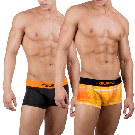 Solid + Plaid Trunks // 2 Pack // Orange + Yellow Plaid, Black (S)