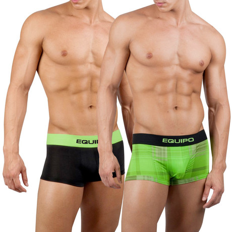 Solid + Plaid Trunk // 2 Pack // Green, Black (S)