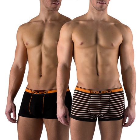 Cotton Stretch Solid + Stripe Trunks // 2 Pack // Orange, Black (S)