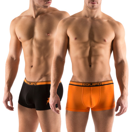 Cotton Stretch Solid Trunks // 2 Pack // Orange, Black (S)