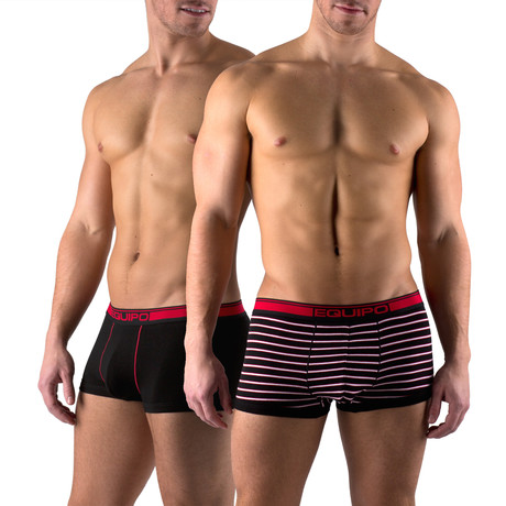 Cotton Stretch Solid + Stripe Trunks // 2 Pack // Red, Black (S)