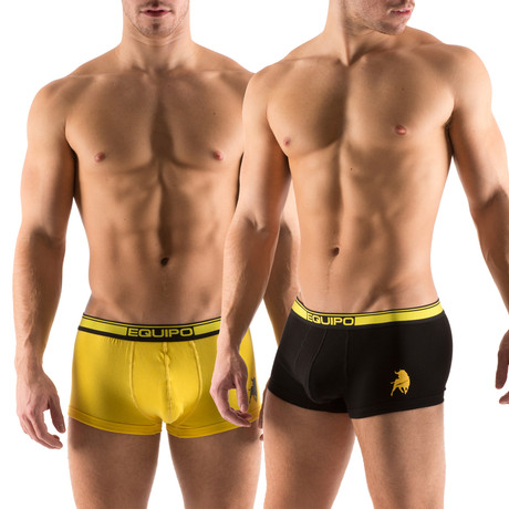 Cotton Stretch Solid Trunks // 2 Pack // Yellow, Black (S)