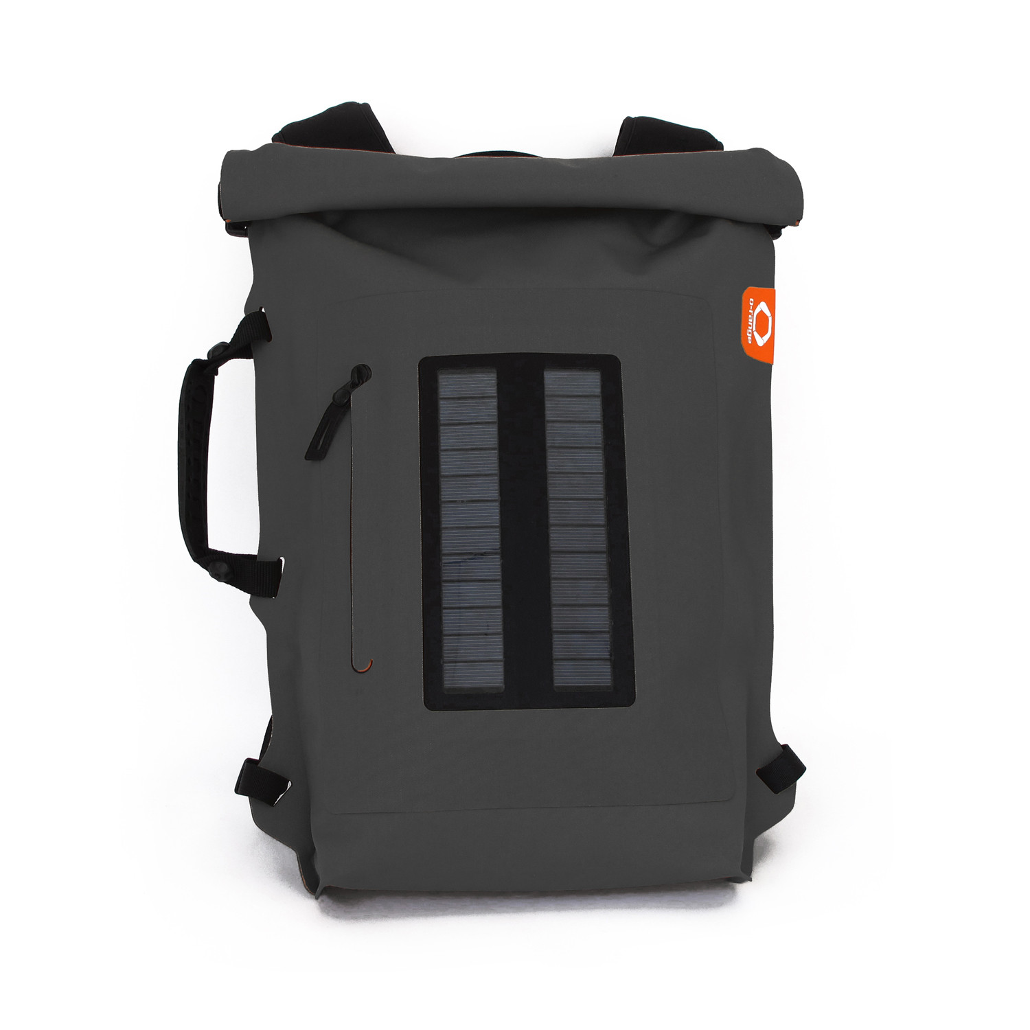 Solar Backpack Roll Top Dark Grey O Range Touch Of