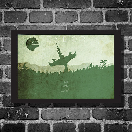 "Star Wars Location // Endor Black Bordered (16""L x 12""H)"
