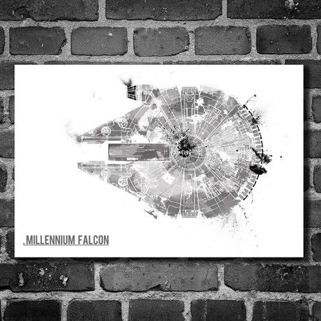 "Star Wars // Harshness // Millennium Falcon (16""L x 12""H)"