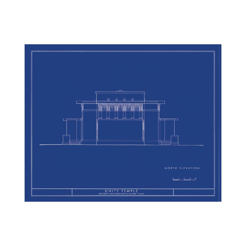 036 Frank Lloyd Wright Falling Water North /& West Elevations Blueprint Plan