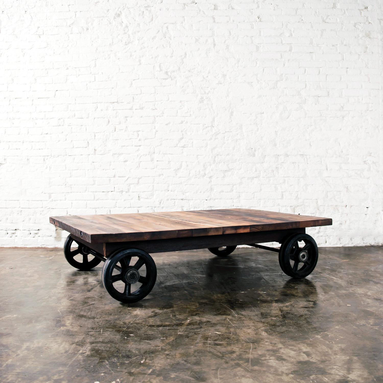 Handcar Coffee Table // Reclaimed Wood - Industrial ...