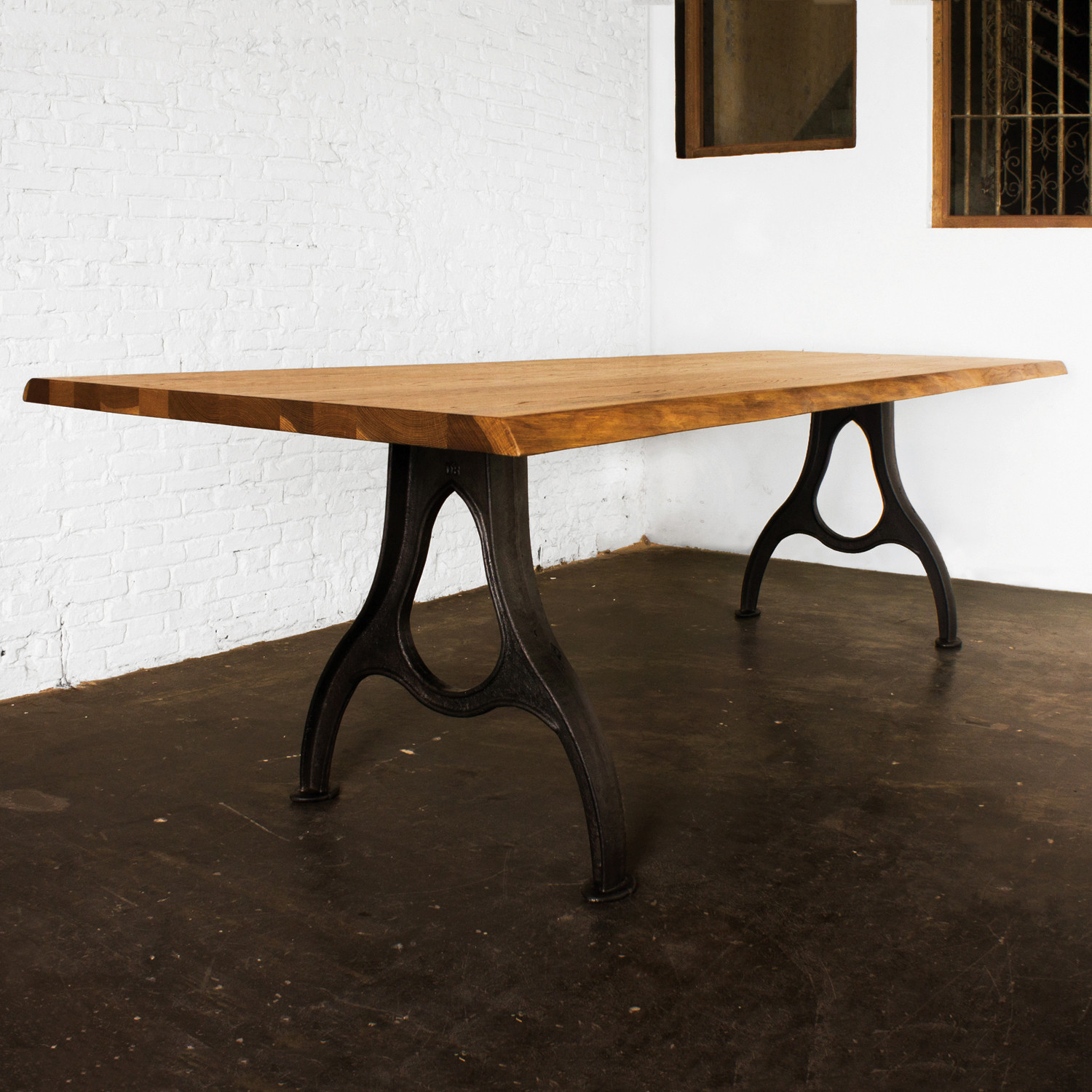 Small Industrial Dining Table: Family Style Dining Table // Smoked Oak (Small