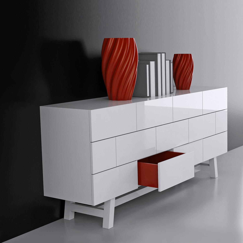 Brick Credenza (White Lacquer) - NONO - Touch of Modern