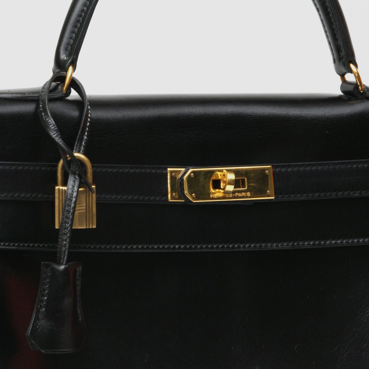 knock off hermes - Herm��s Kelly Black Box Calf Leather Bag - Vintage Herm��s - Touch ...