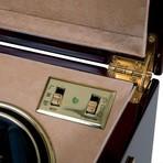 Optima Captain's Quad Watch Winder // Mahogany + Brass