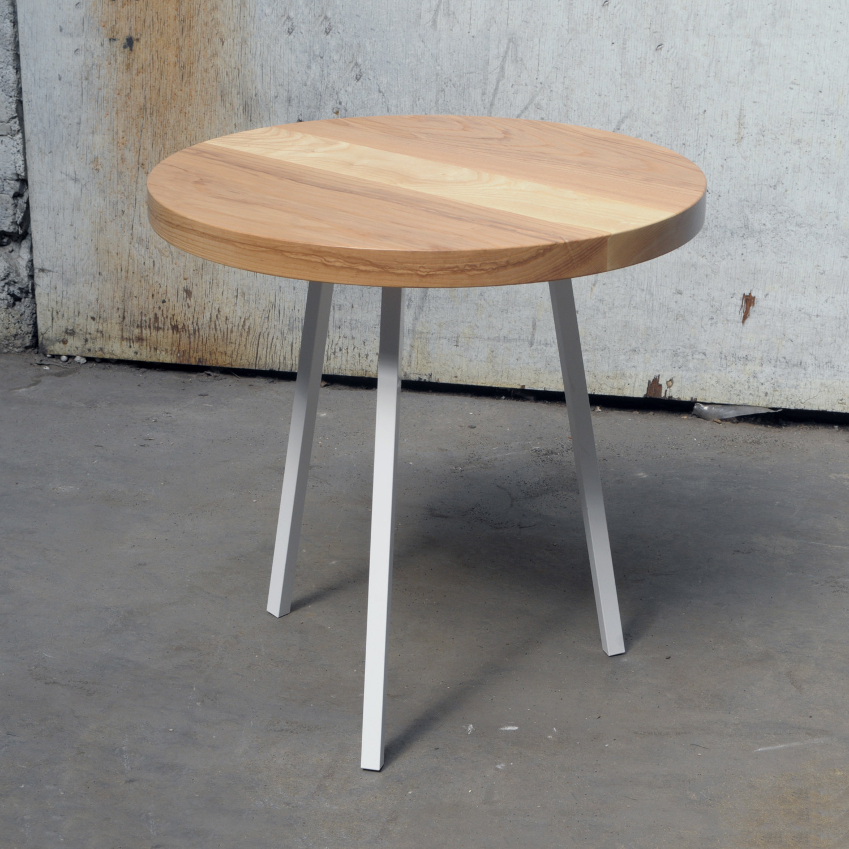 Little Round Table (Walnut Top + White Legs)