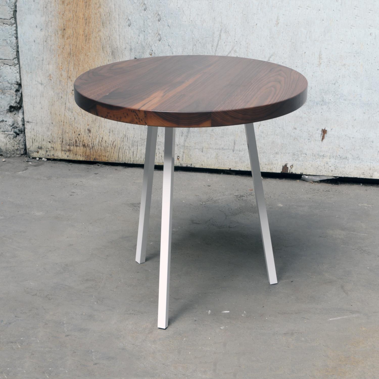 Attractive Little Round Table (Walnut Top + White Legs)