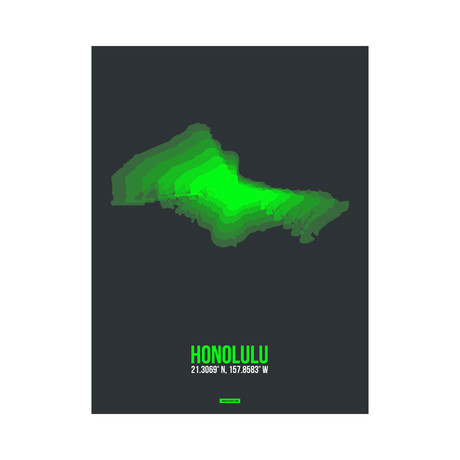 Honolulu Radiant Map (Green, Black)
