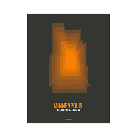 Minneapolis Radiant Map (Orange, Black)