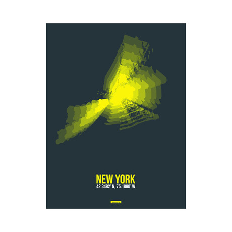 New York Radiant Map (Yellow, Black)