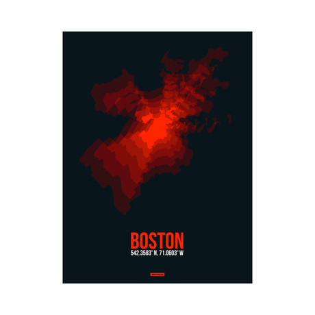 Boston Radiant Map (Red, Black)