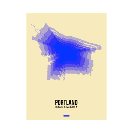 Portland Radiant Map (Blue, Yellow)