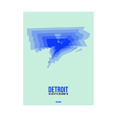 Detroit Radiant Map (Blue, Green)