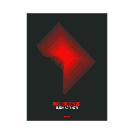 Washington, D.C. Radiant Map (Red, Black)