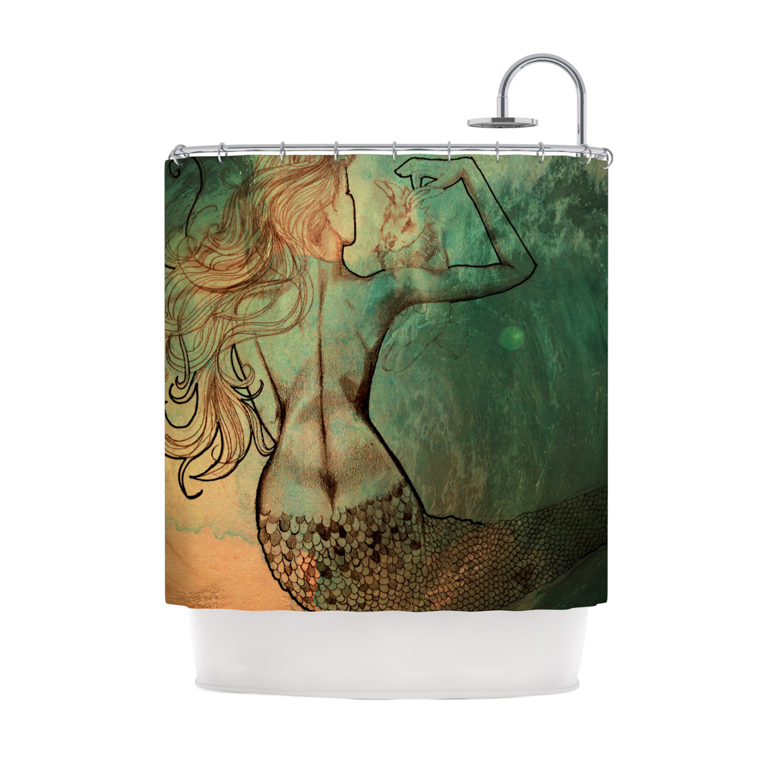 Mermaid shower curtains - Theresa Giolzetti Poor Mermaid Shower Curtain