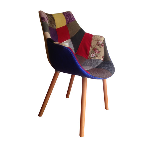 MC Patchwork Armchair (Natural Wood Legs)