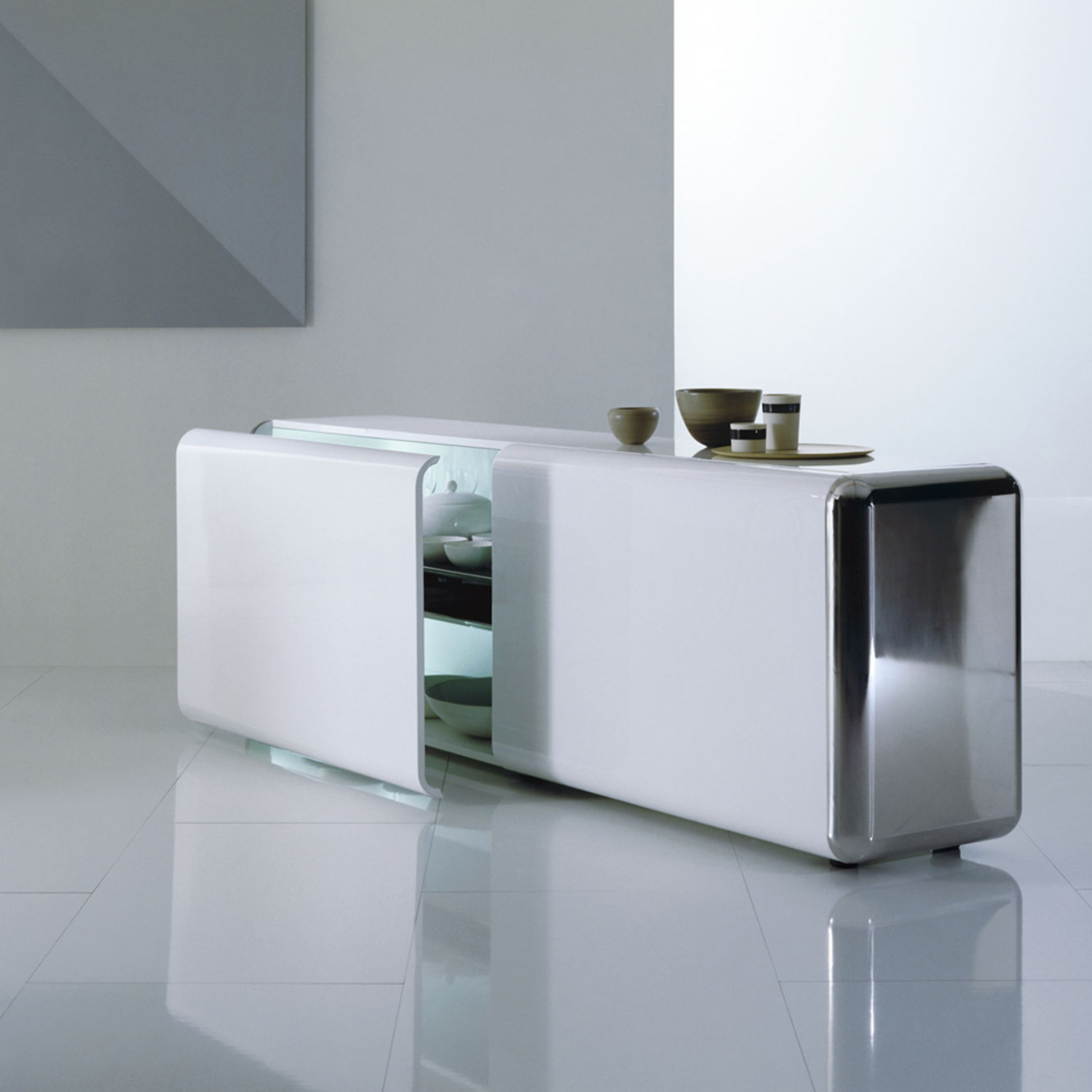 Superego Sideboard // White W/ Stainless Steel