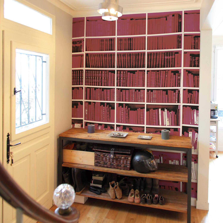 trompe l 39 oeil bibliotheque black white fuchsia. Black Bedroom Furniture Sets. Home Design Ideas
