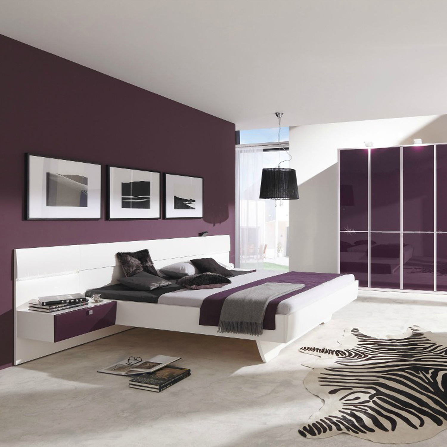 Starlight Bed w/ Two Nightstands // Eggplant (King Size) - The ...