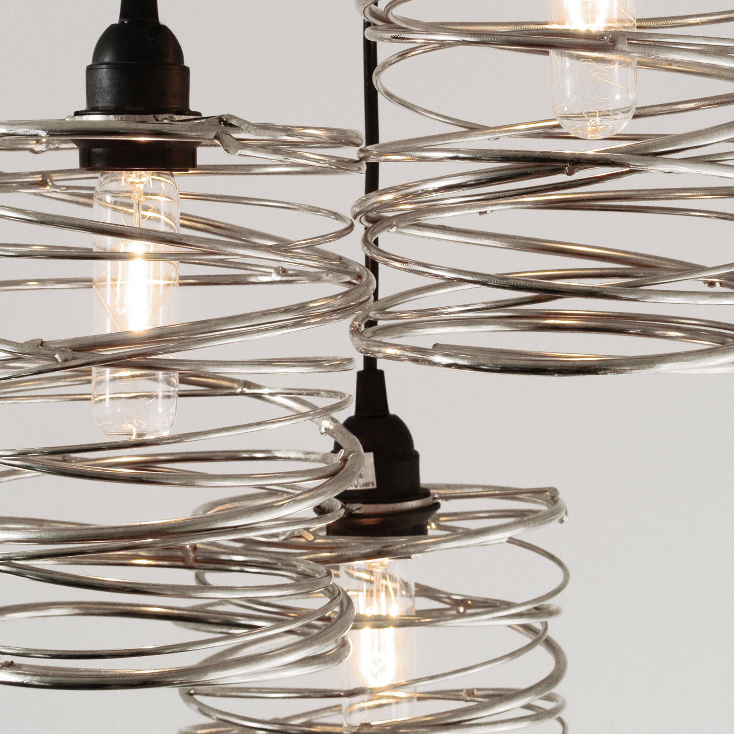 Spiral Nest Cascading Chandelier 3 Pendant Nickel Plated