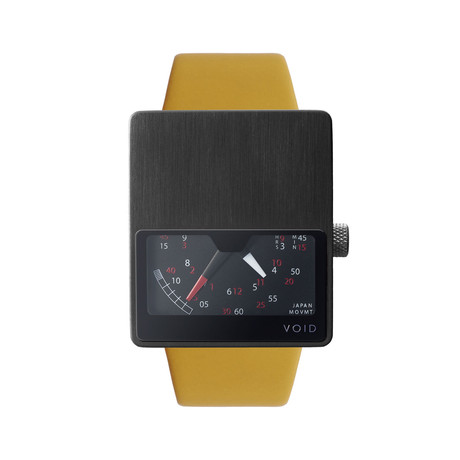Black Analogue with Mustard Leather Strap & Black Buckle
