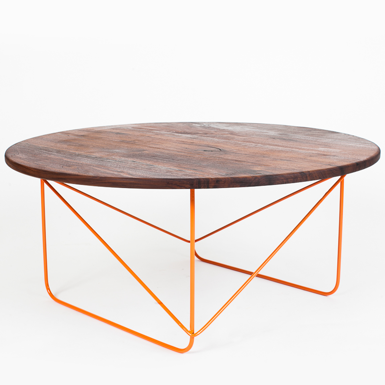 black walnut round coffee table (orange)  sean woolsey art  - black walnut round coffee table (orange)  sean woolsey art  furniture touch of modern