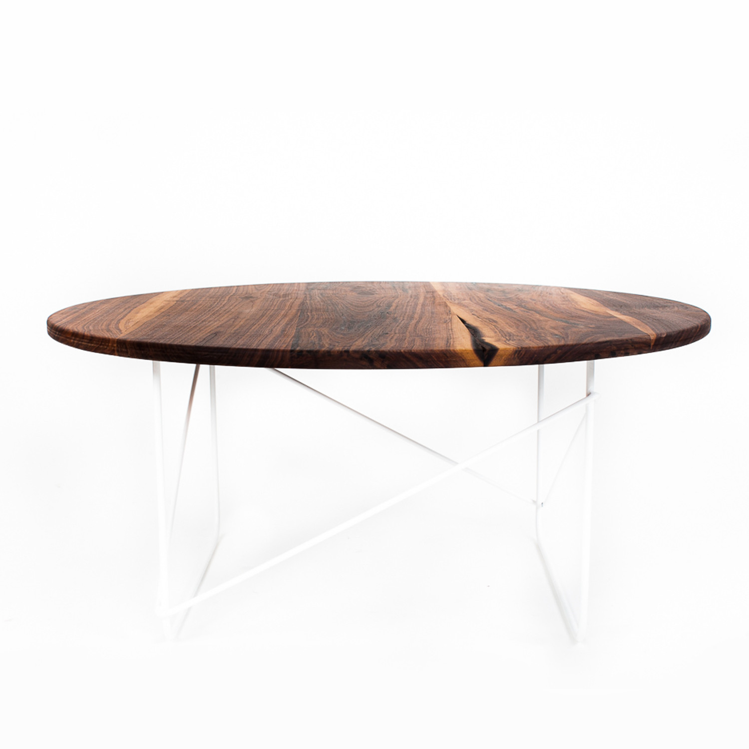 Black Walnut Round Coffee Table Orange Sean Woolsey Art