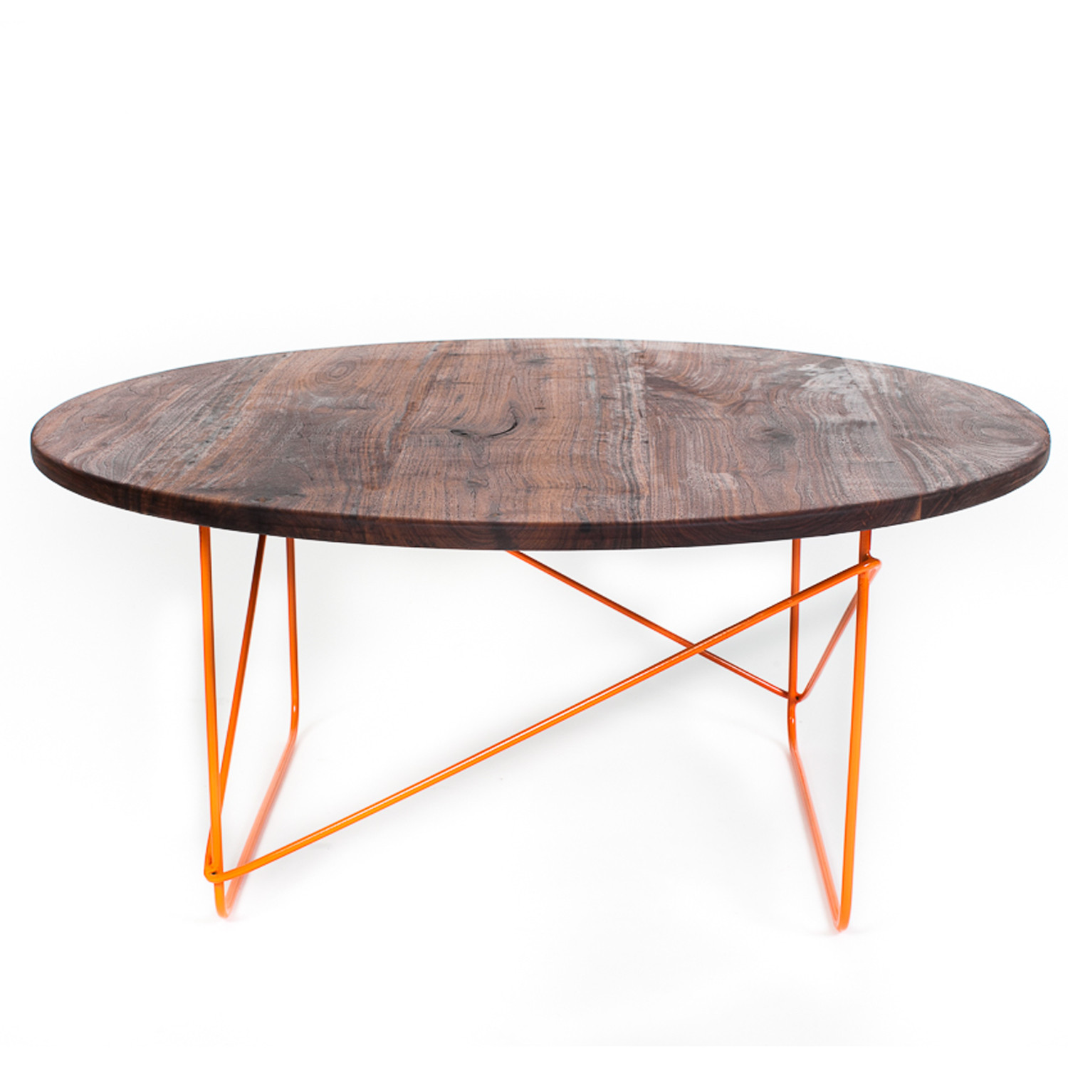 Black Walnut Round Coffee Table Orange Sean Woolsey Art Furniture Touch Of Modern
