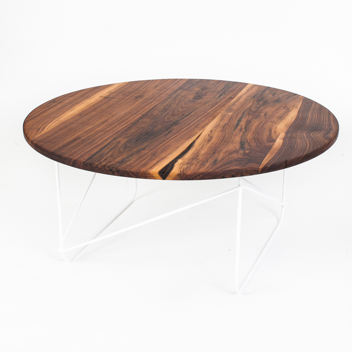 Black Walnut Round Coffee Table White Sean Woolsey Art