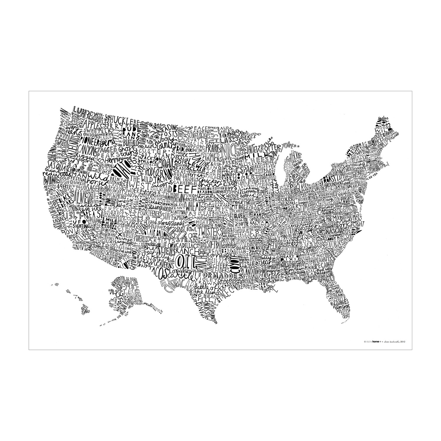 Modern Us Map.Word Map Usa Luckies Of London Touch Of Modern