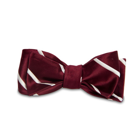 Magnetic Bow Tie // Rose Red Satin Dotted and Stripe ...