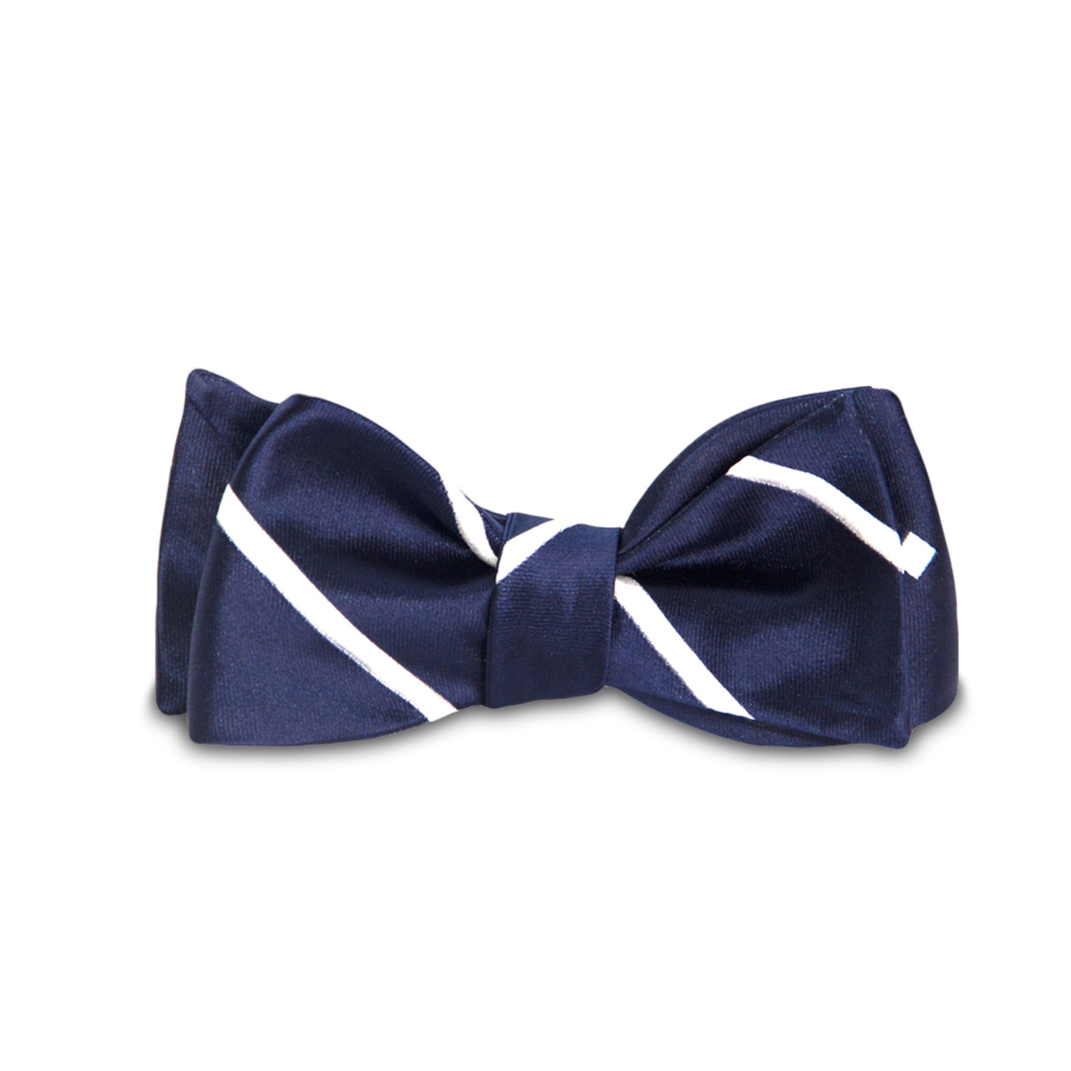 Magnetic Bow Tie // Navy Blue Satin Dotted and Stripe ...