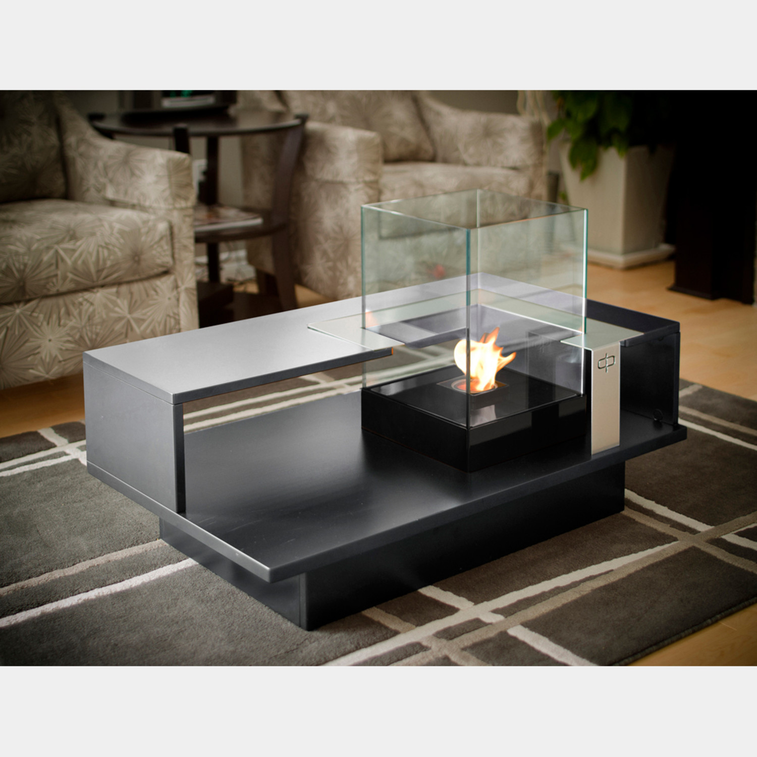 Level Compact Coffee Table With Fireburner (Black Textured