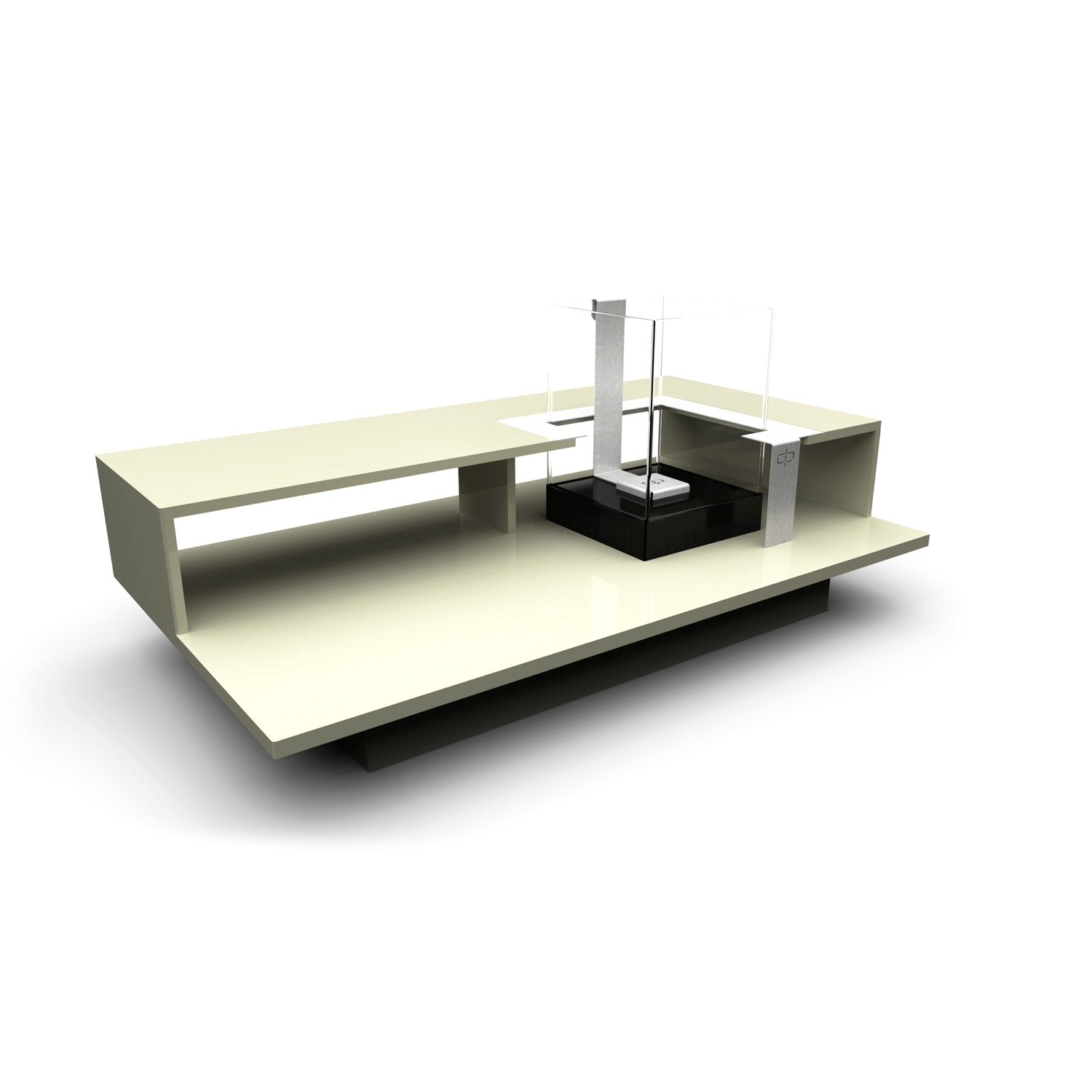 Level coffee table with fireburner black textured for 3 level coffee table
