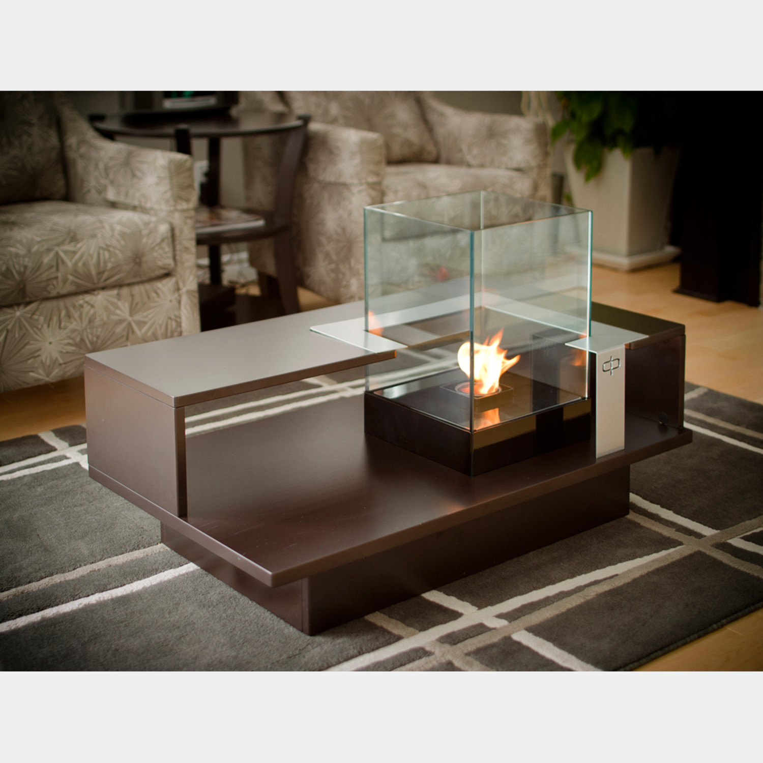 Level Fire Coffee Table pact Black Textured DecorPro