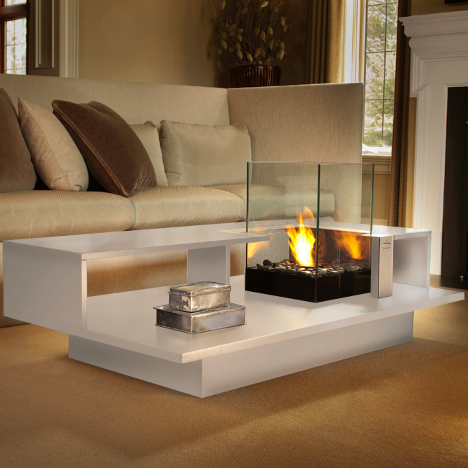 Level Fire Coffee Table Black Textured Decorpro Touch Of Modern