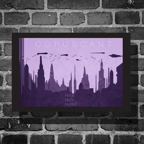 "Star Wars Location // Coruscant Black Bordered (16""W x 12""H)"