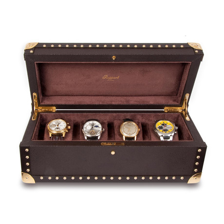 Brown Leather 4 Watch Studded Case // Brown Leather