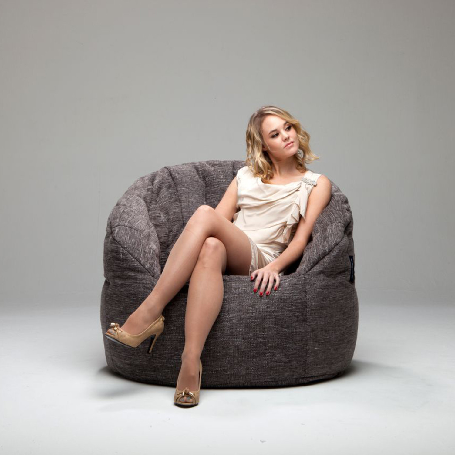 Butterfly Bean Bag Chair Gold Class Luscious Grey Ambient