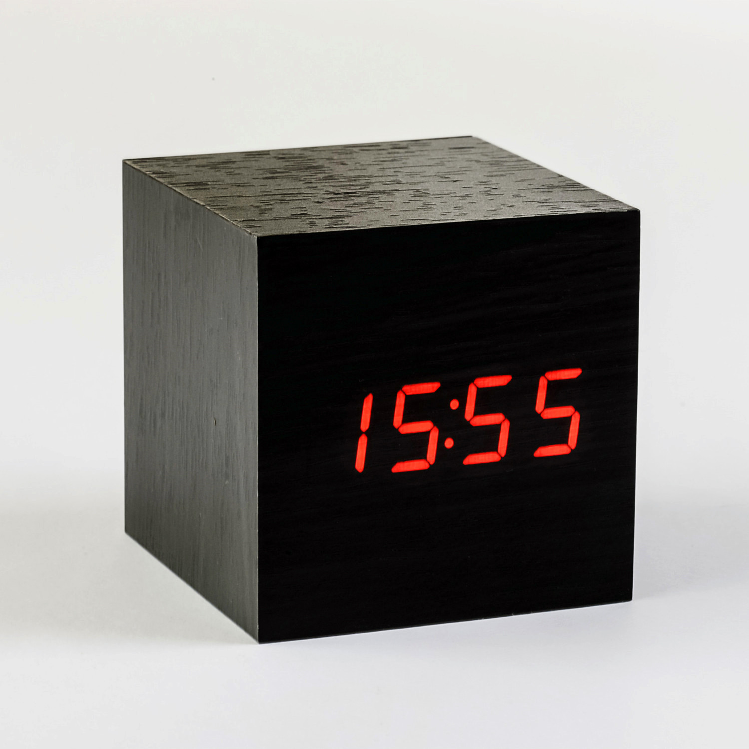 cube click clock red led black gingko eco touch of. Black Bedroom Furniture Sets. Home Design Ideas