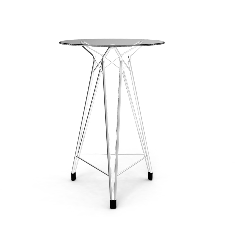 Diamond Bar Table // Chrome Base + Round Glass Top