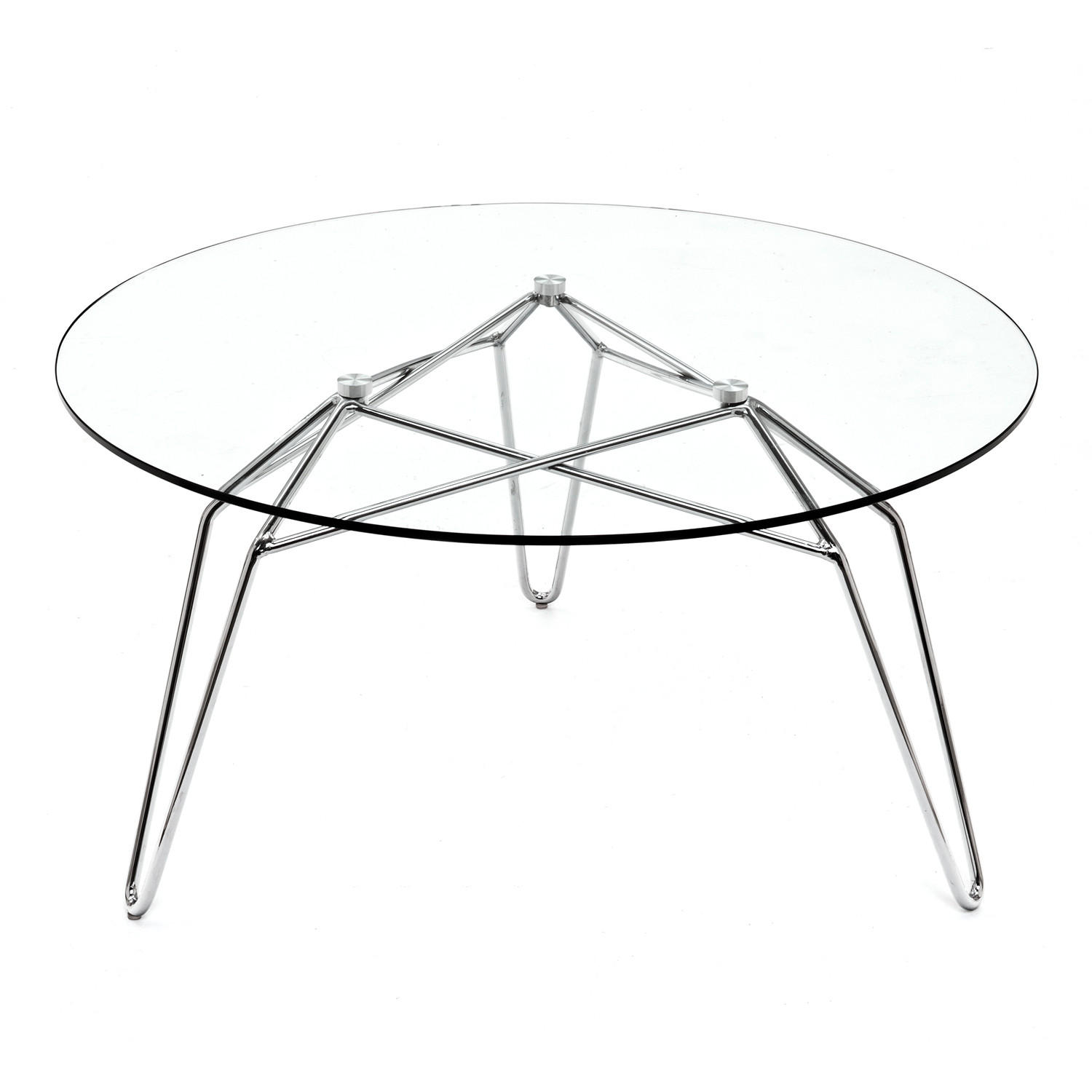 Diamond Coffee Table Chrome Base Round Glass Top Kubikoff - Chrome base glass top coffee table